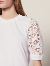 T-Shirt With Lace Sleeves : All Selection color white