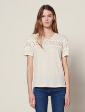 Linen T-Shirt With Lace : T-shirts color Ecru
