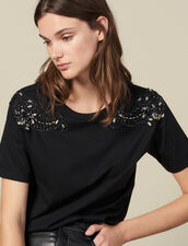 T-Shirt With Embroidery On The Shoulders : T-shirts color Black