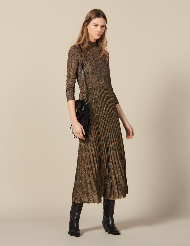 Long lurex knit dress : Dresses color Gold