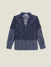 Striped poplin and lace top : Tops & Shirts color Navy Blue