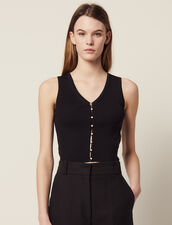 Ribbed Knit Sleeveless Top : All Selection color Black