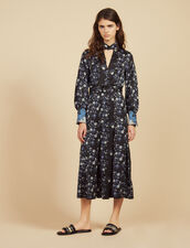 High-Necked Midi Dress With Mixed Prints : Printed dresses color Blue