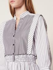 Striped Cotton Midi Dress : All Selection color white