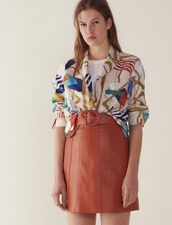 Leather Skirt With Belt : Skirts & Shorts color Caramel