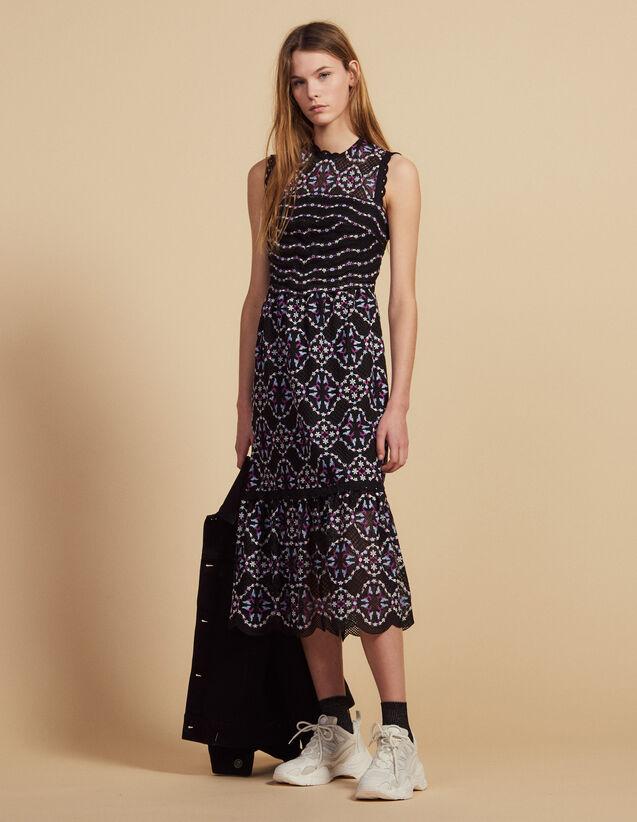 Midi Guipure Dress : Dresses color Black