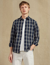Long-Sleeved Tartan Shirt : Shirts color Navy Blue