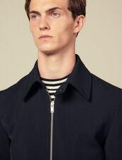 Zipped jacket in wool serge : LastChance-IT-H50 color Navy Blue