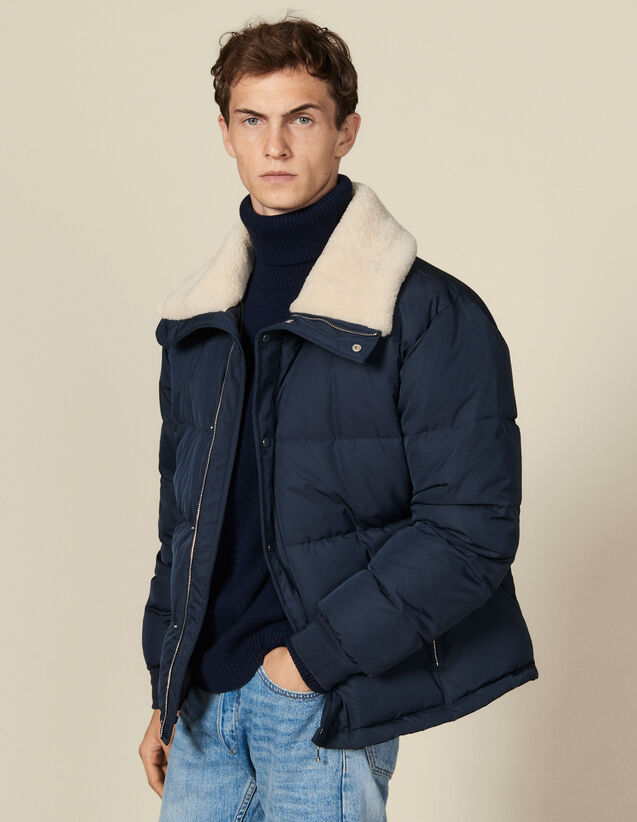Padded jacket with wide fur collar : Trench coats & Coats color Navy Blue