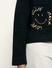 Shirt-style cardigan with smiley : Sweaters & Cardigans color Black