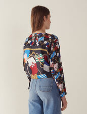 Long-Sleeved Printed Silk Top : null color Black