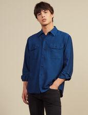 Flowing Herringbone Fabric Shirt : Sélection Last Chance color Blue