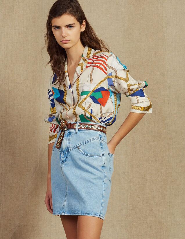 Short Denim Skirt With Topstitching : null color Blue Vintage - Denim