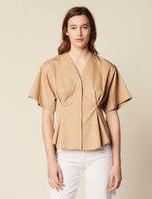 Short-Sleeved Cotton Blouse : All Selection color Beige