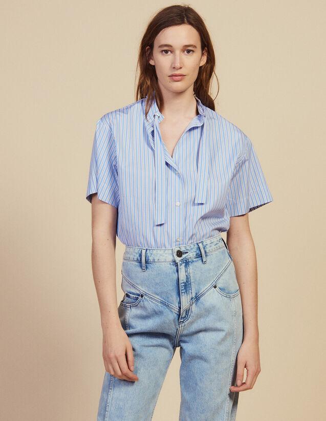 Short-Sleeved Poplin Shirt : null color Blue
