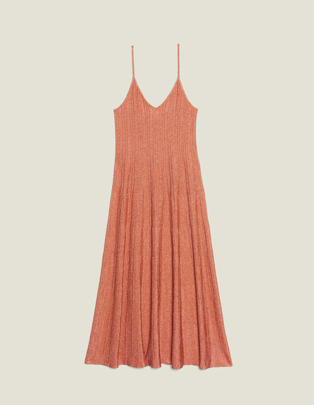 Knitted Long Dress With Narrow Straps : null color Pêche