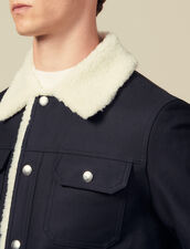 Jacket with faux sheepskin lining : Winter Collection color Navy Blue