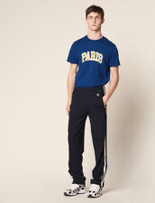 Jersey Jogging Bottoms With Striped Trim : All Selection color Black
