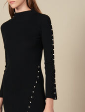 Long knit dress trimmed with beads : Dresses color Black