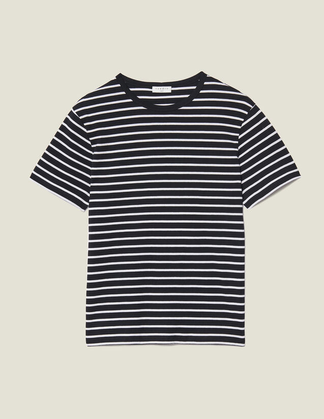 Breton T-shirt : T-shirts & Polo shirts color Black/Ecru