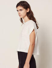 Cropped Linen T-Shirt : null color Ecru