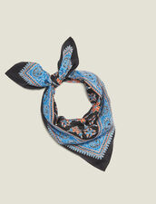 Printed Silk Scarf : null color Blue
