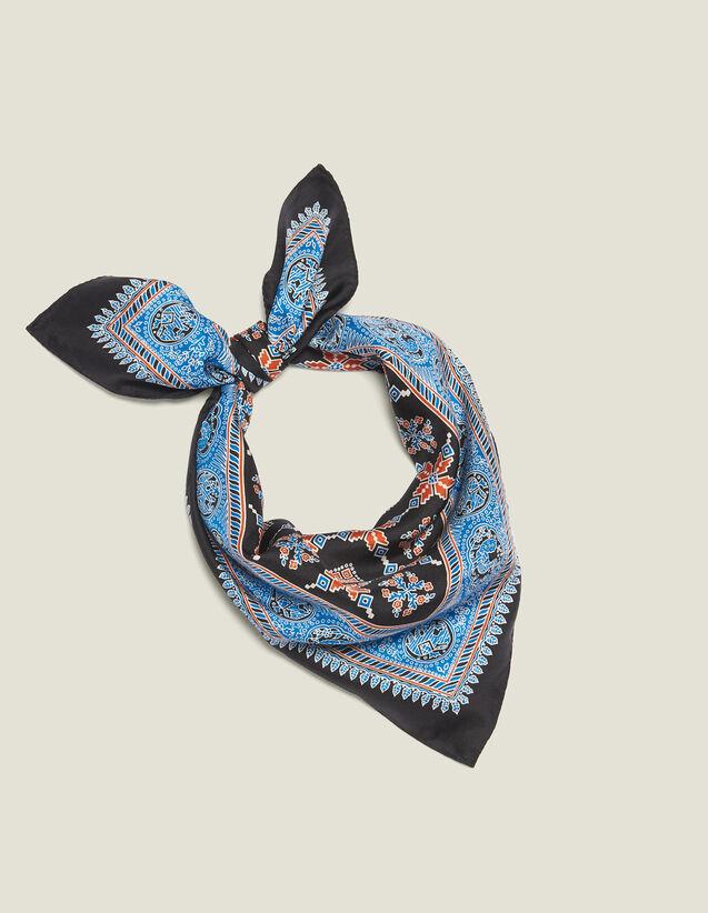 Printed Silk Scarf : Scarves color Blue