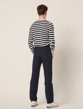 Smart Cotton/Linen Trousers : Pants & Shorts color Navy Blue