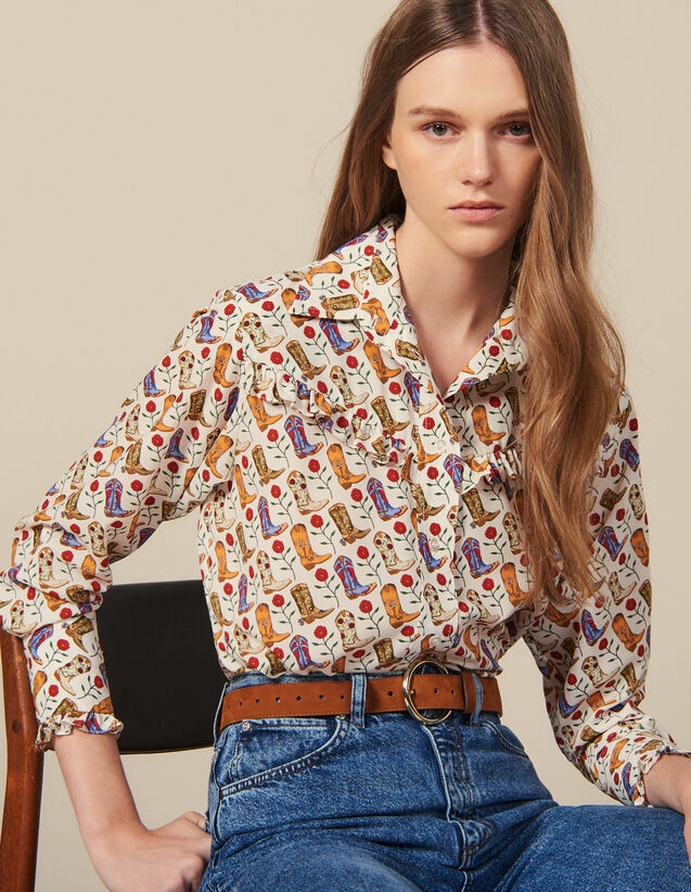 Printed Ruffled Shirt : New In color Ecru