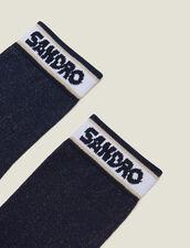 Lurex Socks With Sandro Logo : LastChance-FR-FSelection color Navy Blue