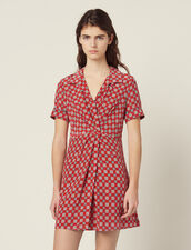 Short Printed Silk Dress : All Selection color Red