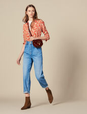 High-Waisted Jeans With Pearl Buttons : Jeans color Blue Jean