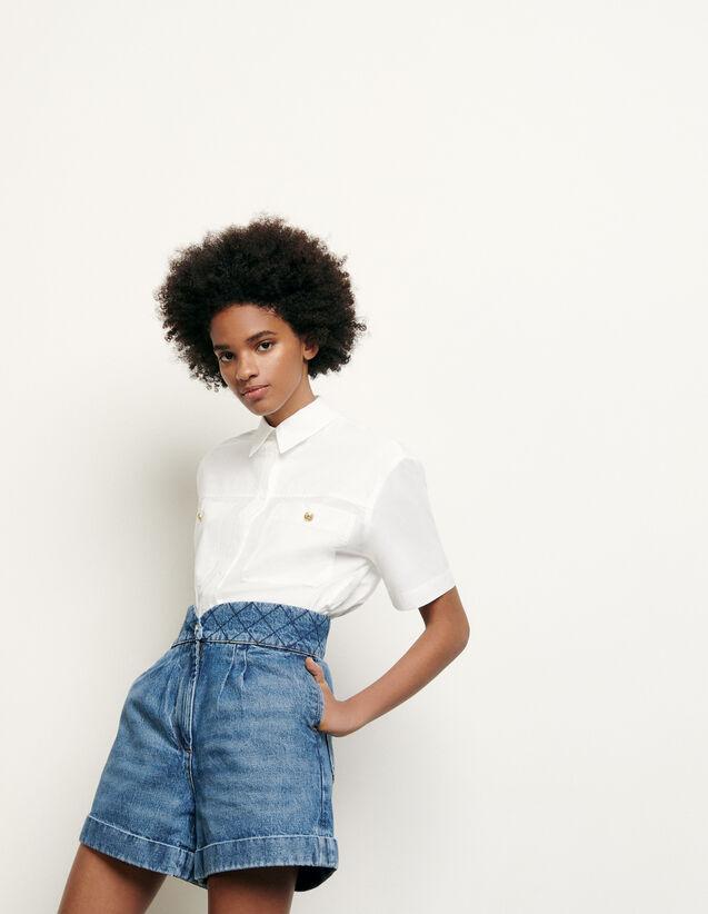 Denim shorts with quilted belt : Skirts & Shorts color Blue Vintage - Denim