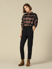 High-Waisted Classic Trousers : Pants color Black