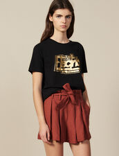 Cotton T-Shirt With Lettering : T-shirts color Black