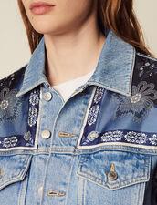 Denim Jacket With Printed Insets : Blazers & Jackets color Blue Vintage - Denim