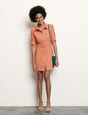 Shirt dress with decorative buttons : Dresses color Abricot