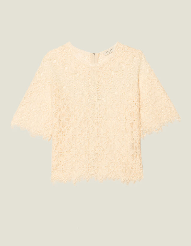 Matching Lace Cropped Top : null color Nude