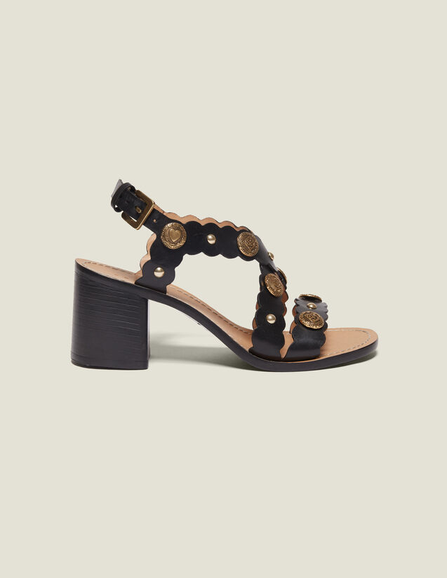 Heeled Sandals With Rivet Details : All Shoes color Black