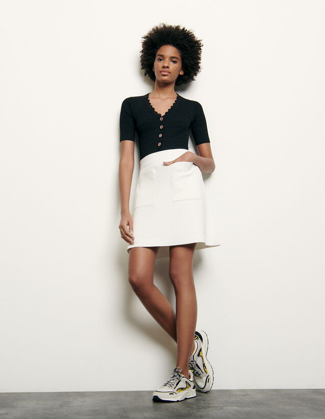Short knitted skirt : Skirts & Shorts color Black