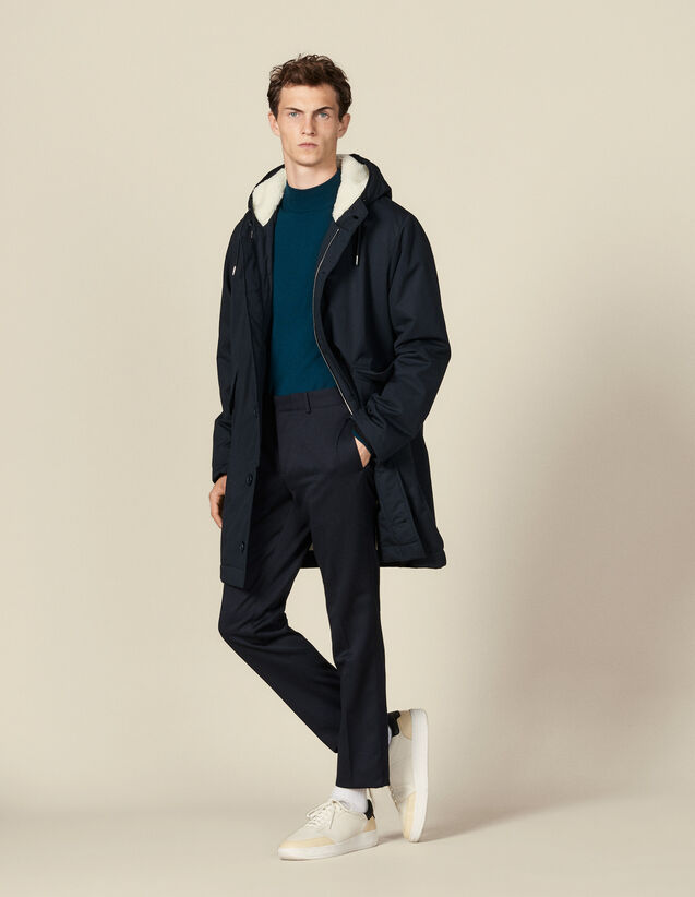 Cotton parka with faux sheepskin lining : Trench coats & Coats color Navy Blue