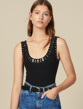 Knitted Bodysuit Trimmed With Studs : Copy of -30% color Black