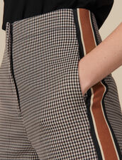 Straight-leg checked trousers : LastChance-ES-F50 color Brown