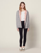 Hoodie Cardigan With All-Over Lining : All Selection color Grey