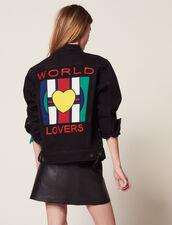 Boyfriend Fit Denim Jacket With Patch : All Selection color Black