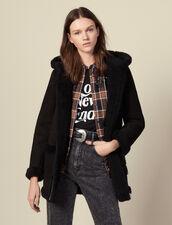 Long sheepskin coat with hood : Coats color Black