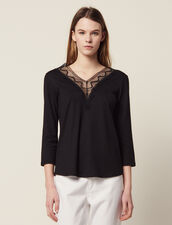 T-Shirt With Lace Neckline : All Selection color Black
