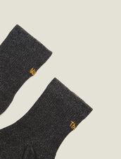 Lurex Embroidered Socks : null color Black