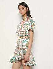Short printed dress with ruffles : Dresses color Ivory