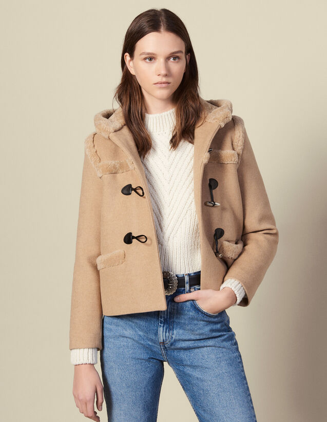 Short sheepskin duffle coat : Coats color Beige